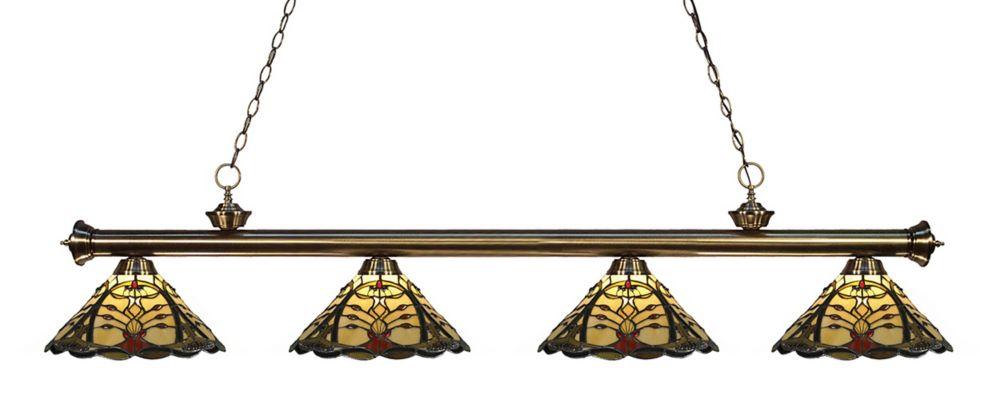 4-Light Antique Brass Billiard with Tiffany Glass - 80 inch
