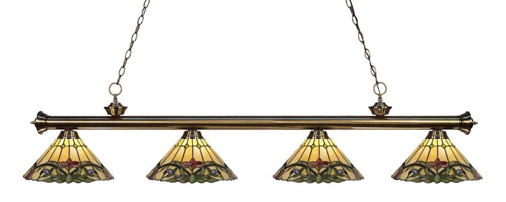 4-Light Antique Brass Dimmable Billiard with Multi Colored Tiffany Glass - 80 inch