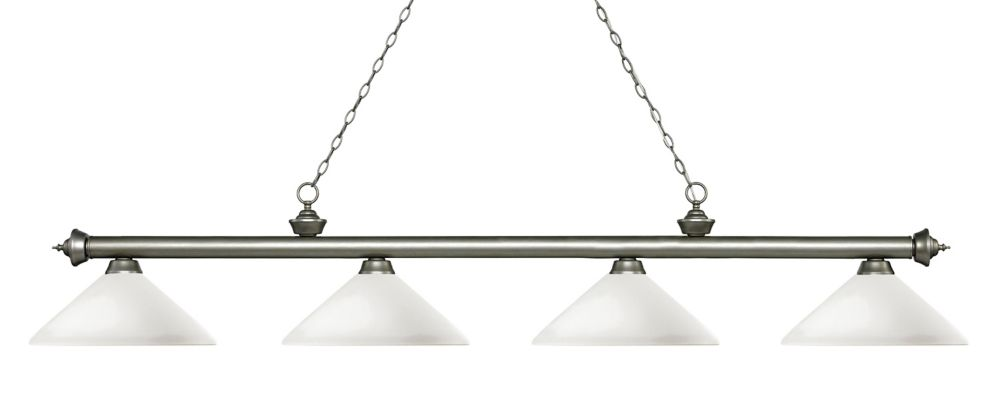 Filament Design 4-Light Antique Silver Island/Billiard with Matte Opal Glass - 80.25 inch