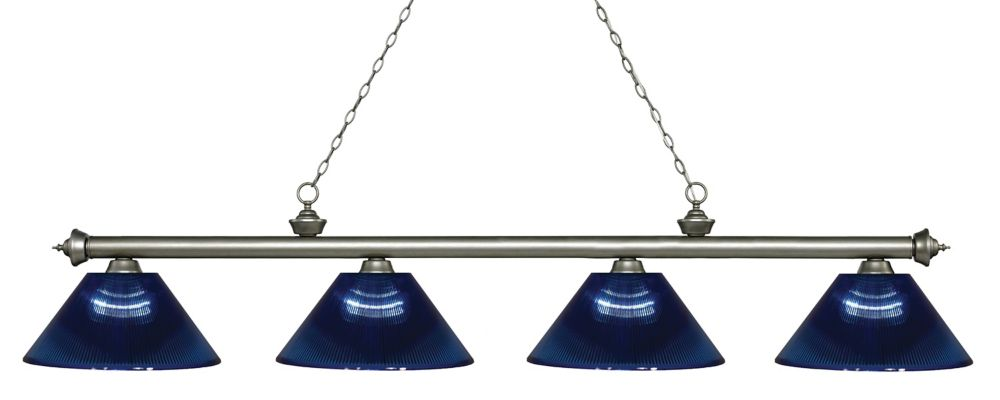 Filament Design 4-Light Antique Silver Island/Billiard with Dark Blue Acrylic Shade - 80.75 inch
