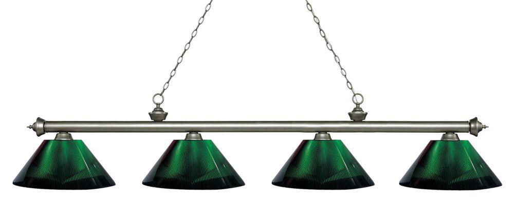 Filament Design 4-Light Antique Silver Island/Billiard with Green Acrylic Shade - 80.75 inch
