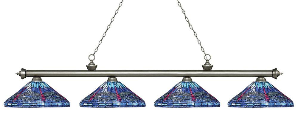 4-Light Antique Silver Island/Billiard with Multi Colored Tiffany Glass - 83.5 inch