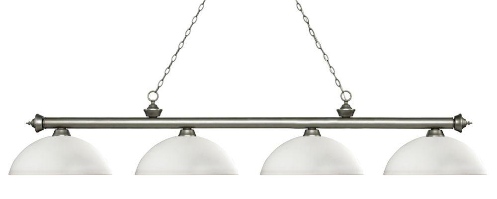 Filament Design 4-Light Antique Silver Island/Billiard with Matte Opal Glass - 80 inch