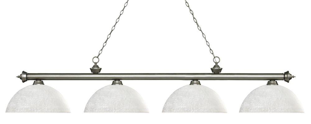 Filament Design 4-Light Antique Silver Island/Billiard with White Linen Glass - 80 inch