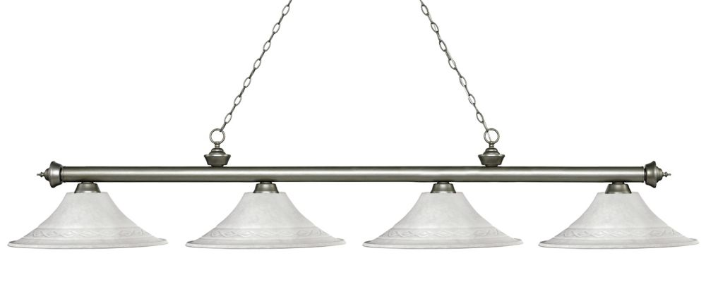 Filament Design 4-Light Antique Silver Island/Billiard with White Mottle Glass - 83 inch