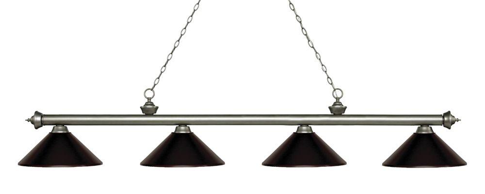 Filament Design 4-Light Antique Silver Island/Billiard with Bronze Steel Shade - 80.75 inch