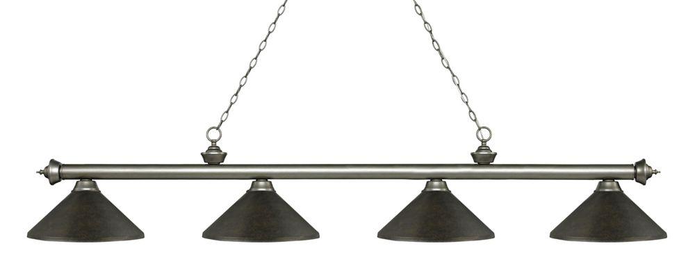 Filament Design 4-Light Antique Silver Island/Billiard with Golden Bronze Steel Shade - 80.75 inch