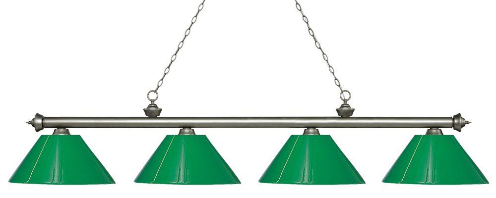 Filament Design 4-Light Antique Silver Island/Billiard with Green Plastic - 80.5 inch