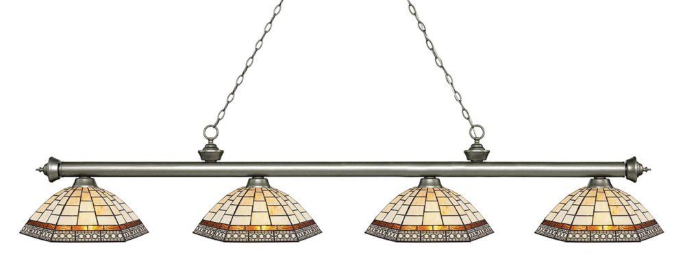 Filament Design 4-Light Antique Silver Island/Billiard with Multi Colored Tiffany Glass - 80.75 inch