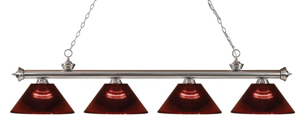 Filament Design 4-Light Brushed Nickel Island/Billiard with Burgundy Acrylic Shade - 80 inch