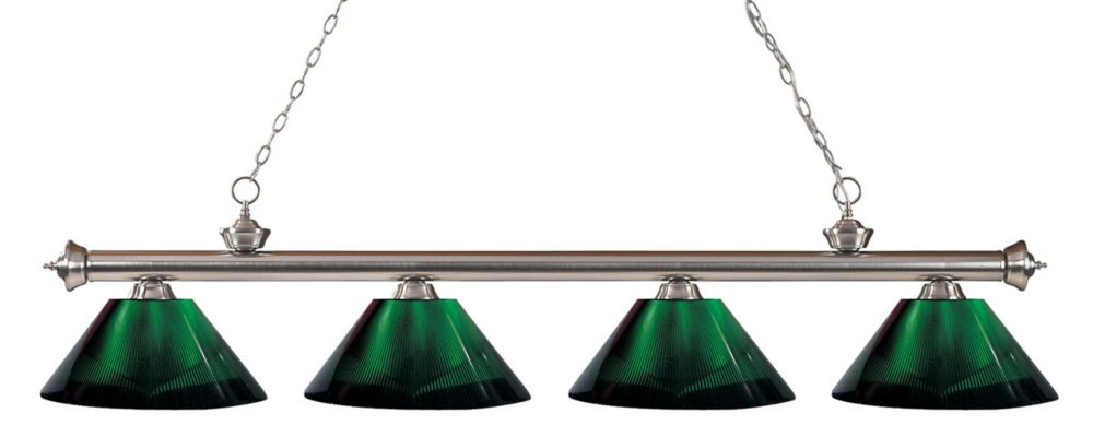 Filament Design 4-Light Brushed Nickel Island/Billiard with Green Acrylic Shade - 80 inch