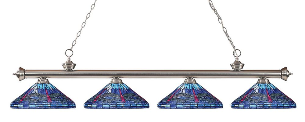 Filament Design 4-Light Brushed Nickel Billiard with Multi Colored Tiffany Glass - 82 inch