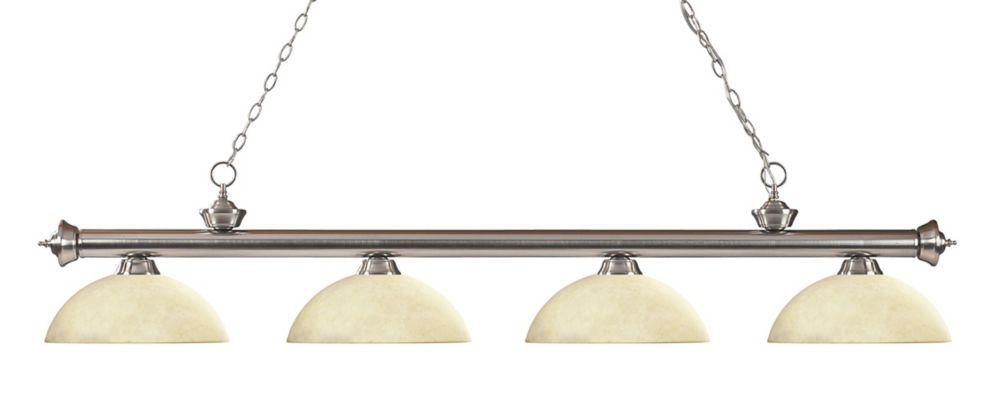 Filament Design 4-Light Brushed Nickel Billiard with Golden Mottle Glass