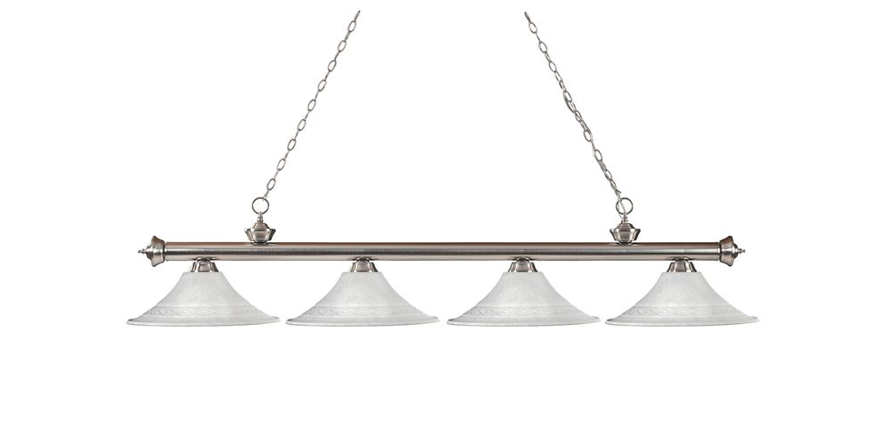 Filament Design 4-Light Brushed Nickel Billiard with White Mottle Glass - 82 inch