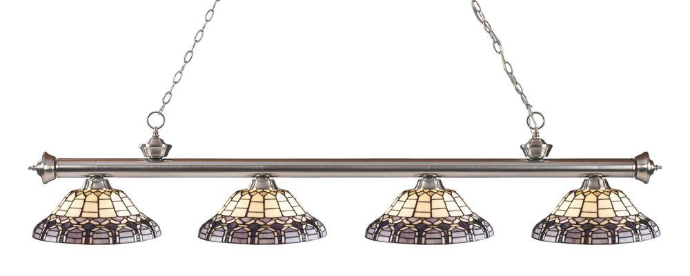 4-Light Brushed Nickel Billiard with Tiffany Glass - 80 inch