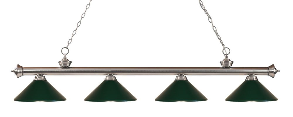 4-Light Brushed Nickel Island/Billiard with Dark Green Steel Shade - 80 inch