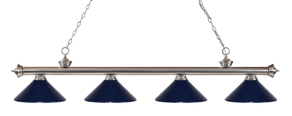 Filament Design 4-Light Brushed Nickel Island/Billiard with Navy Blue Steel Shade - 80 inch