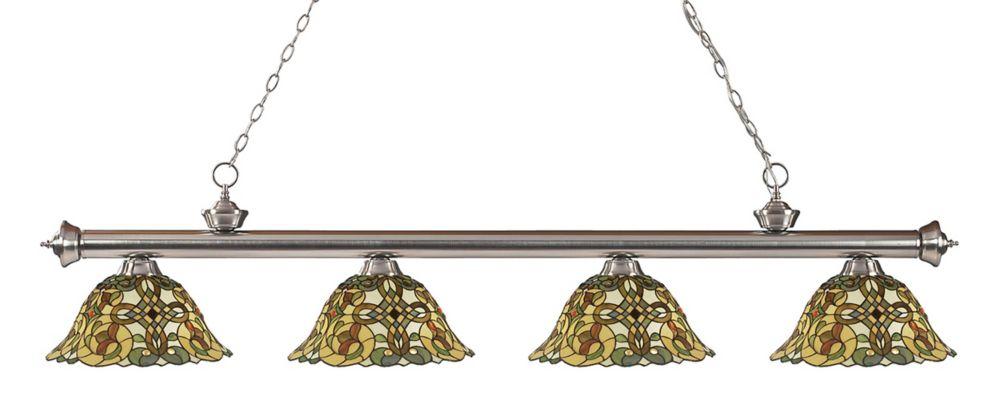 Filament Design 4-Light Brushed Nickel Billiard with Tiffany Glass Shades