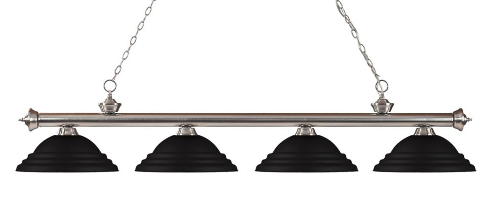Filament Design 4-Light Brushed Nickel Island/Billiard with Matte Black Steel Shade - 82 inch