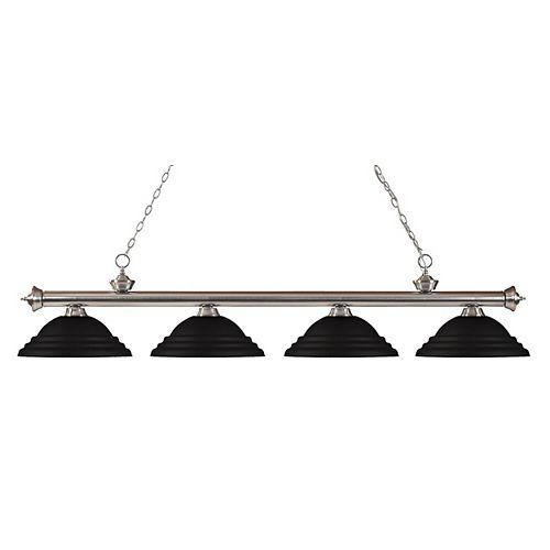 Filament Design 4-Light Brushed Nickel Island/Billiard with Matte Black Steel Shade - 82 inch