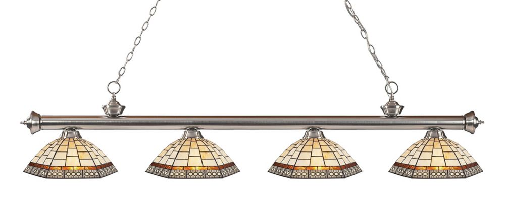 Filament Design 4-Light Brushed Nickel Dimmable Billiard with Multi Colored Tiffany Glass - 80 inch