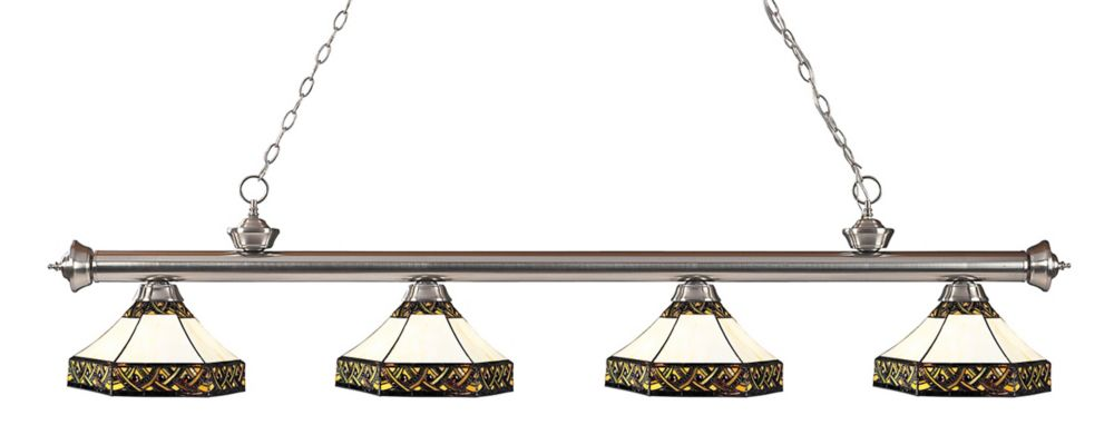 4-Light Brushed Nickel Dimmable Billiard with Multi-Colored Tiffany Glass