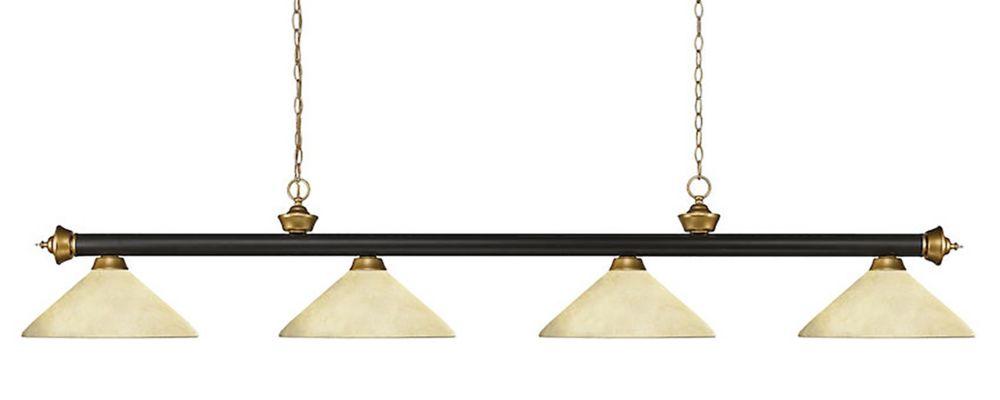 Filament Design 4-Light Bronze and Satin Gold Billiard with Golden Mottle Glass - 80 inch