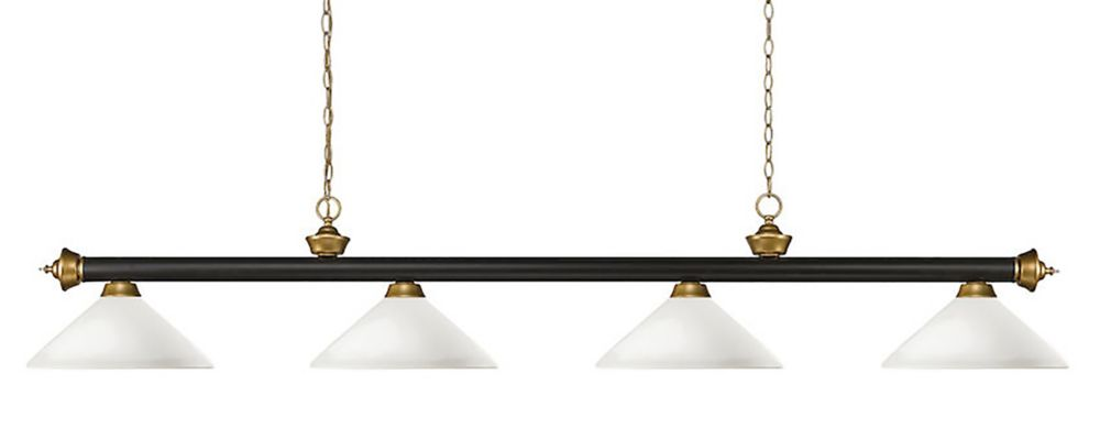 Filament Design 4-Light Bronze and Satin Gold Billiard with Matte Opal Glass - 80 inch