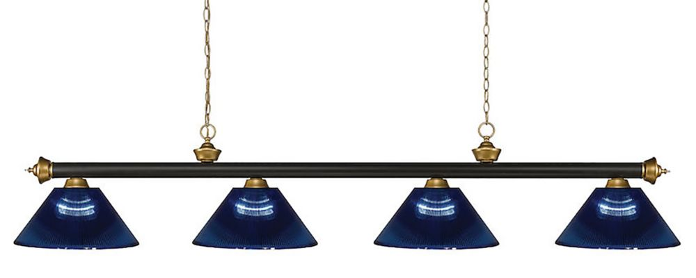 Filament Design 4-Light Bronze and Satin Gold Island/Billiard with Dark Blue Acrylic Shade - 80 inch