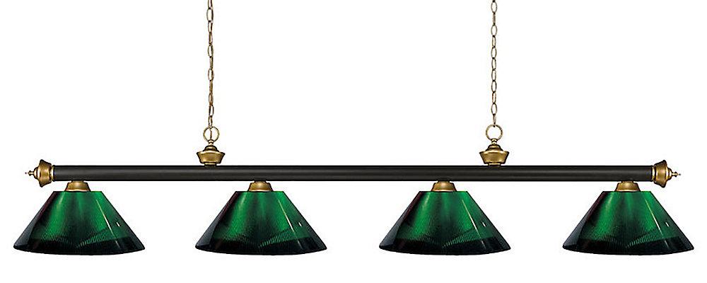 4-Light Bronze and Satin Gold Island/Billiard with Green Acrylic Shade - 80 inch