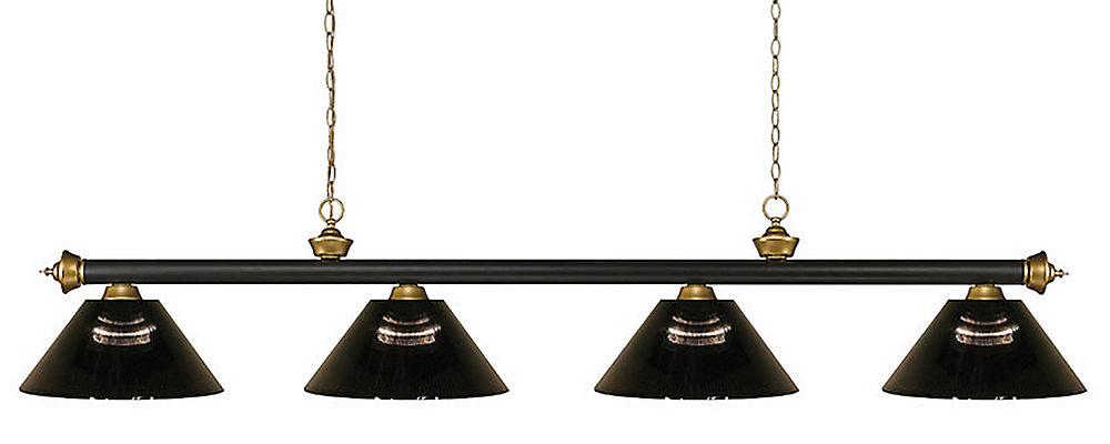 4-Light Bronze and Satin Gold Island/Billiard with Smoke Acrylic Shade - 80 inch