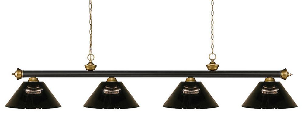 Filament Design 4-Light Bronze and Satin Gold Island/Billiard with Smoke Acrylic Shade - 80 inch