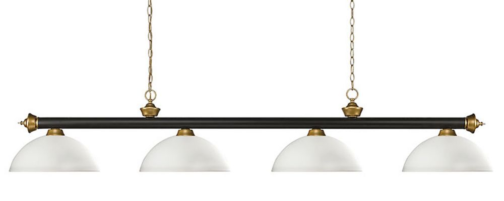 Filament Design 4-Light Bronze and Satin Gold Billiard with Matte Opal Glass