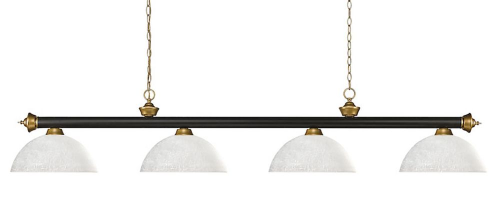4-Light Bronze and Satin Gold Billiard with White Linen Glass