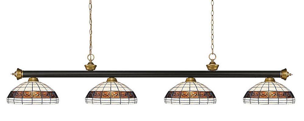 Filament Design 4-Light Bronze and Satin Gold Billiard with Multi Colored Tiffany Glass Shades