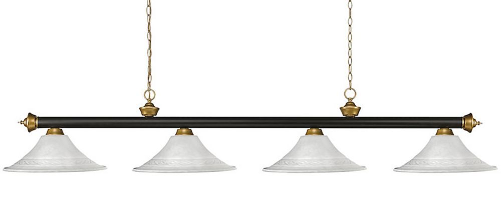 4-Light Bronze and Satin Gold Billiard with White Mottle Glass - 82 inch