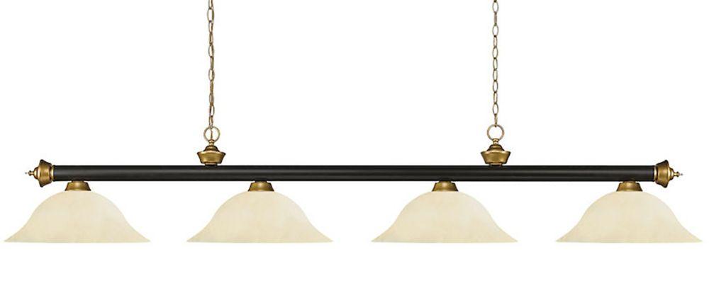 Filament Design 4-Light Bronze and Satin Gold Island/Billiard with Golden Mottle Glass - 82 inch