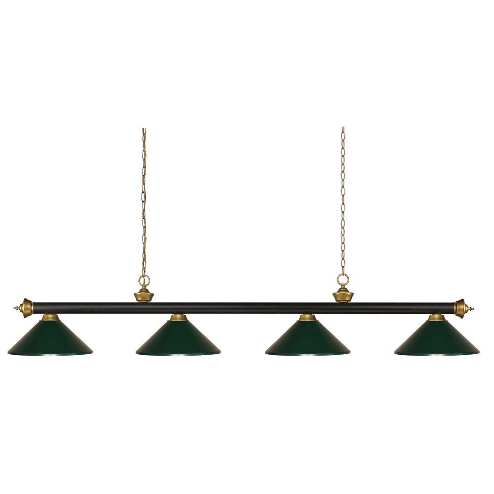 Filament Design 4-Light Bronze and Satin Gold Island/Billiard with Dark Green Steel Shade - 80 inch