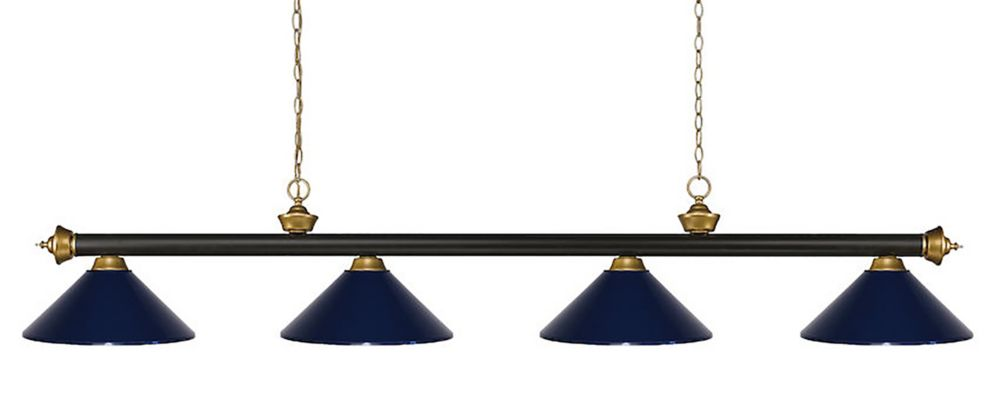 Filament Design 4-Light Bronze and Satin Gold Island/Billiard with Navy Blue Steel Shade - 80 inch