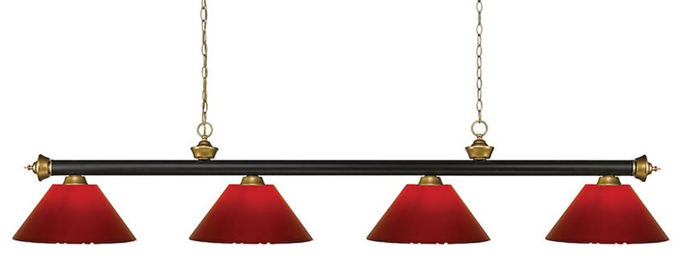 Filament Design 4-Light Bronze and Satin Gold Island/Billiard with Red Plastic - 80 inch