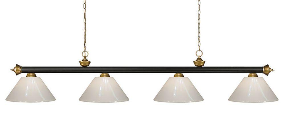 Filament Design 4-Light Bronze and Satin Gold Island/Billiard with White Plastic - 80 inch
