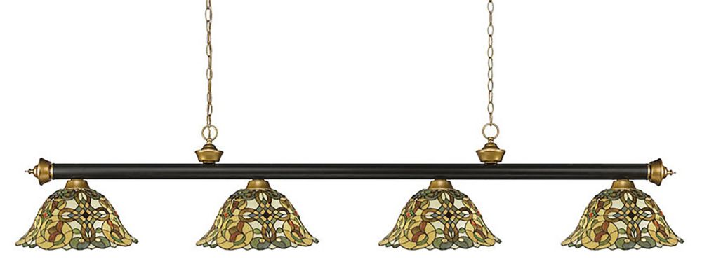 Filament Design 4-Light Bronze and Satin Gold Dimmable Billiard with Multi Colored Tiffany Glass - 80 inch