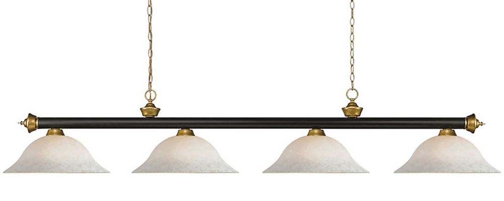 4-Light Bronze and Satin Gold Billiard with White Mottle Glass