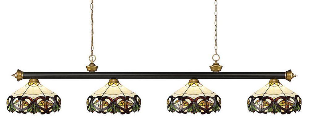 4-Light Bronze and Satin Gold Billiard Light with Multi Colored Tiffany Glass - 80 inch