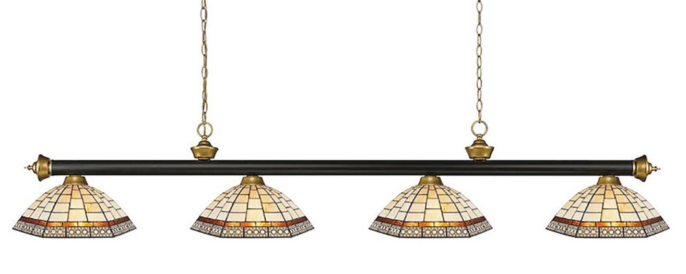 4-Light Bronze and Satin Gold Billiard with Tiffany Glass - 80 inch