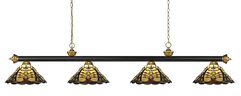 4-Light Bronze and Satin Gold Billiard with Multi-Colored Tiffany Glass Shades