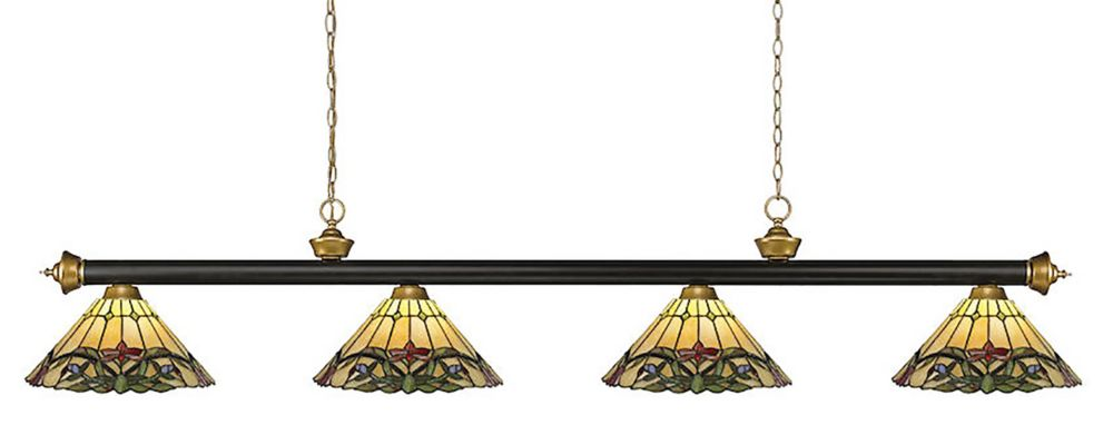 4-Light Bronze and Satin Gold Billiard with Multi Colored Tiffany Glass - 80 inch