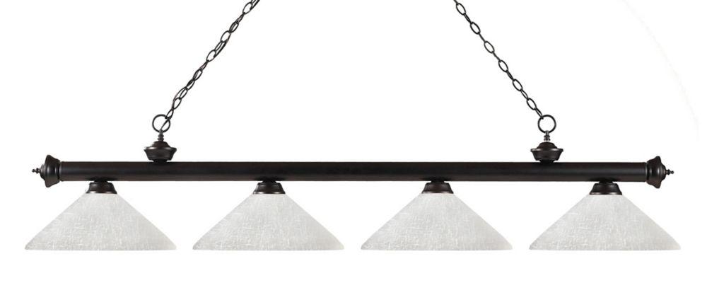 4-Light Bronze Billiard with White Linen Glass - 80 inch