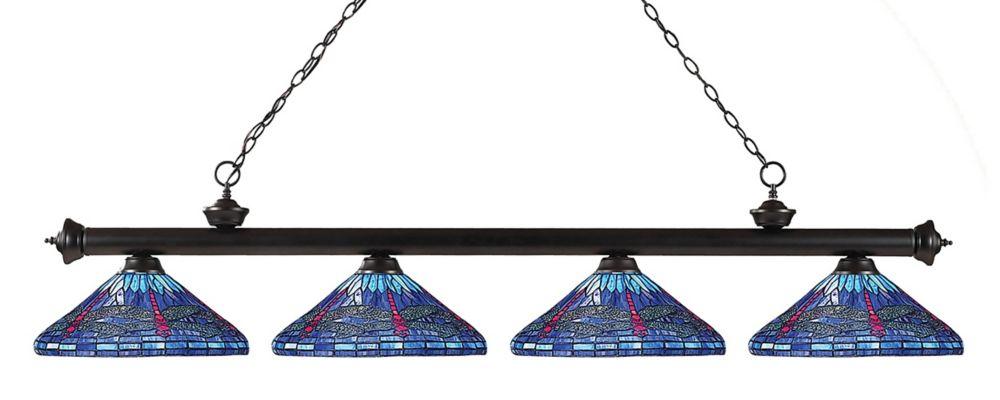 Filament Design 4-Light Bronze Billiard with Multi Colored Tiffany Glass - 82 inch