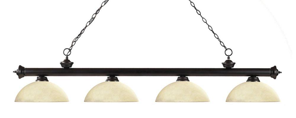 Filament Design 4-Light Bronze Billiard with Golden Mottle Glass